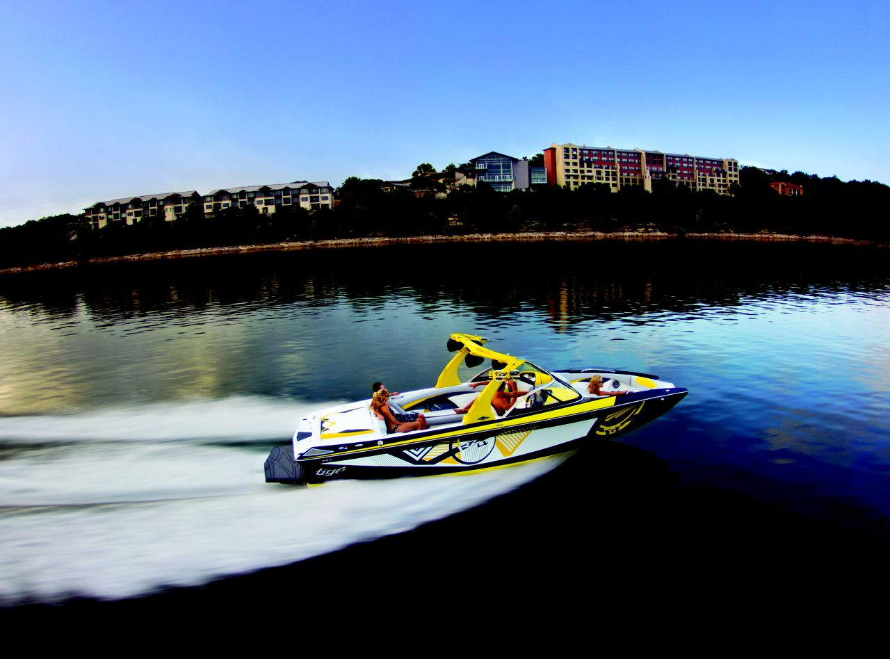 Boating westward in front of the Lakeway Resort and Spa on Lake Travis.