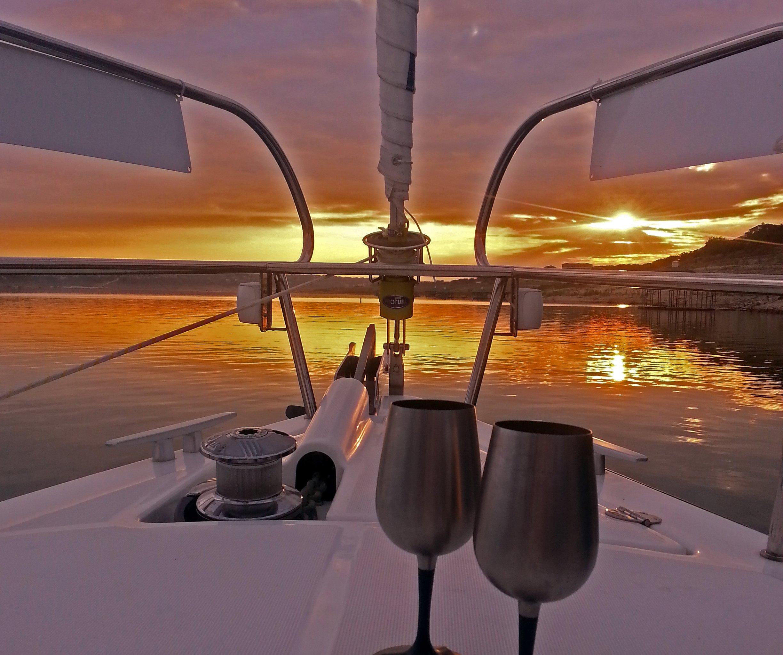 Sunset sail on Lake Travis with Texas Sailing.