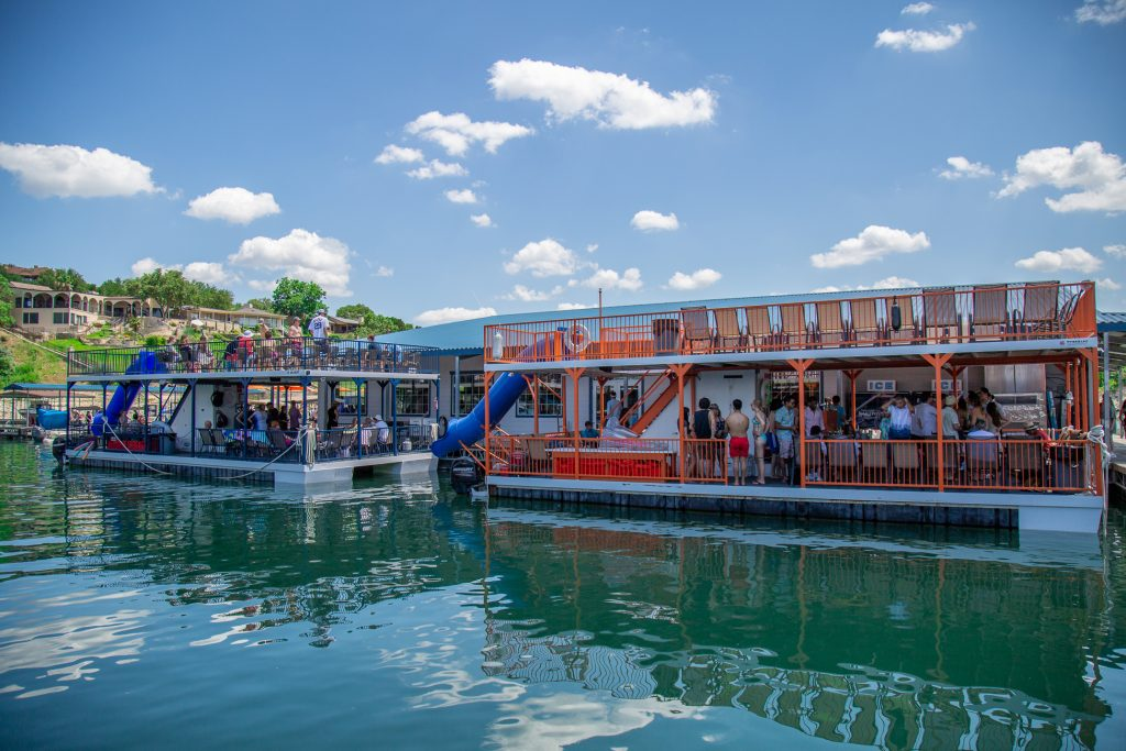 Lakeway Marina's Double Decker Party Barges with slides.