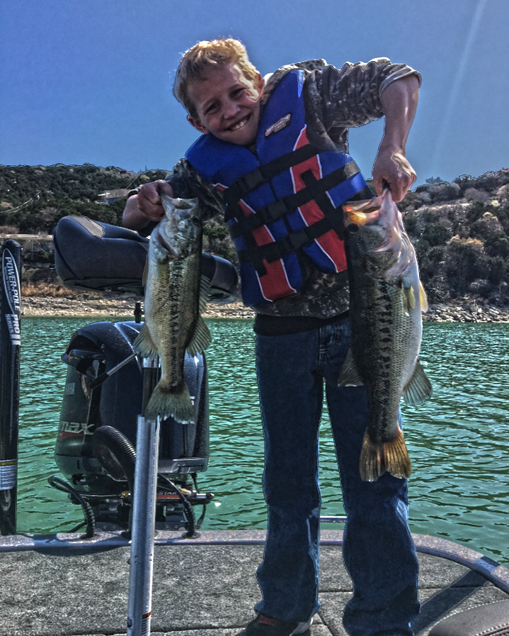 A nice spring day  fsihing a classic spawning creek on the lower end of Lake Travis.