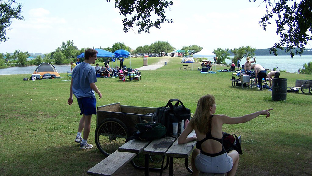 Campers at Windy Point Park on Lake Travis.