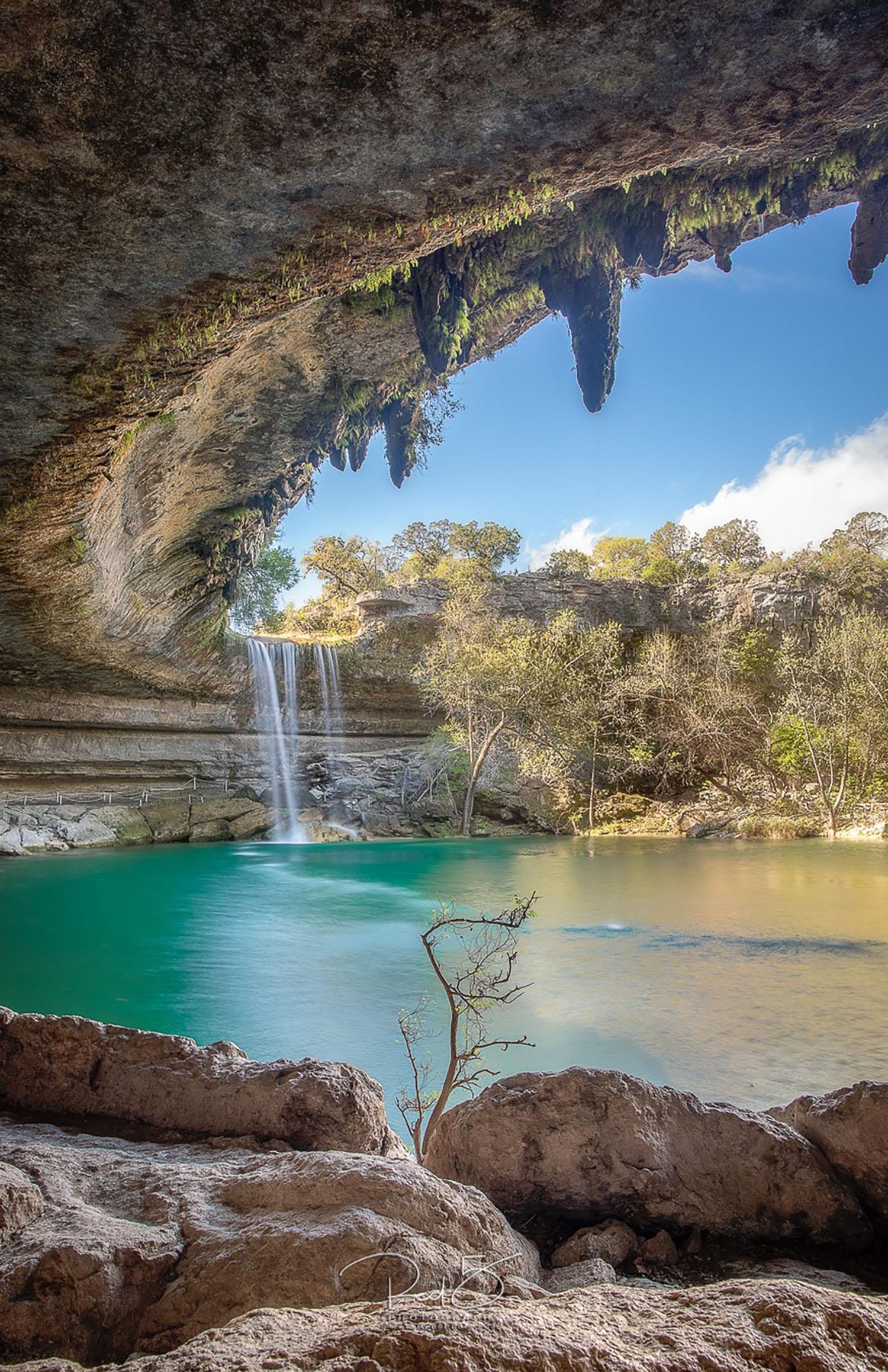 The Hamilton Pool grotto and waterfall.  Photo courtesy Jason Squyres