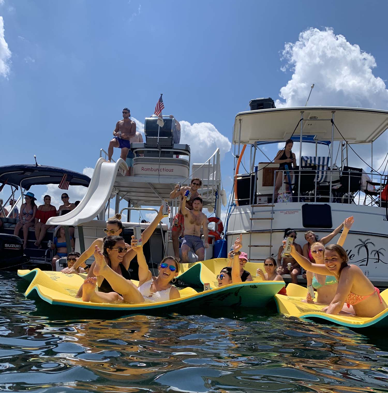 At Devil's Cove with Lone Star Party Boats  - a Lake Travis Yacht Rental company.