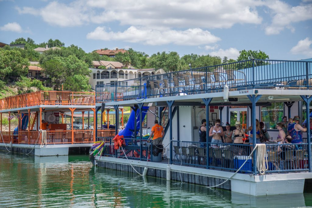Double Decker Party Boats with slides at Lakeway Marina on Lake Travis.