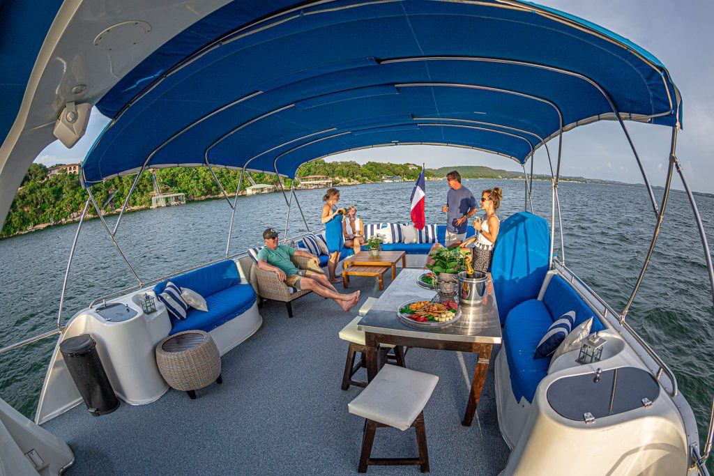 On the upper deck of Stevens Charter's Little Drama Yacht Charter on Lake Travis. Photo: Will Taylor - Lake Travis.com